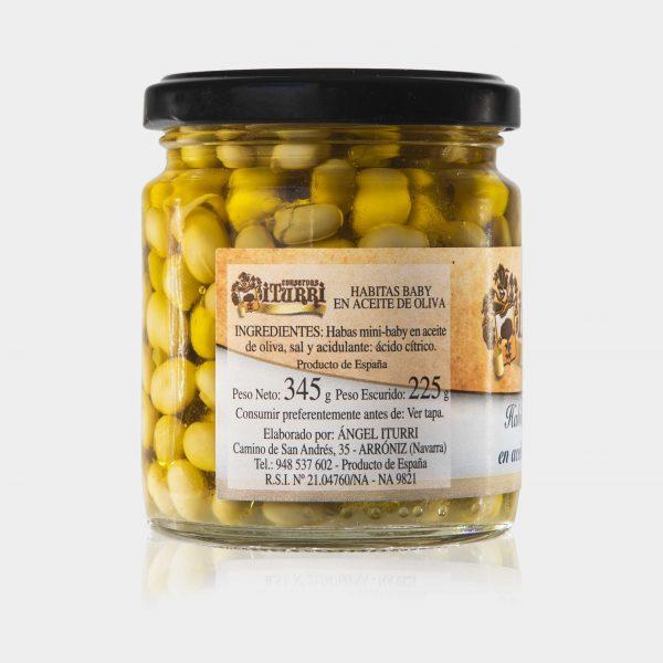 Habitas Baby en aceite de oliva, habitas baby, habitas en aceite, habitas, habas, aceite, frasco,conservas iturri, conservas, arroniz, iturri