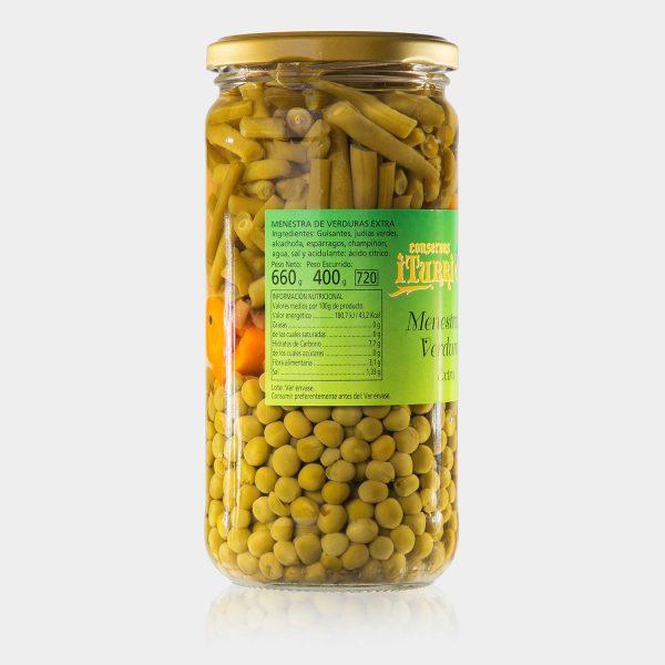 menestra de verduras, menestra de verduras extra, natural, menestra, verduras, tarro, conservas iturri, conservas, arroniz, iturri