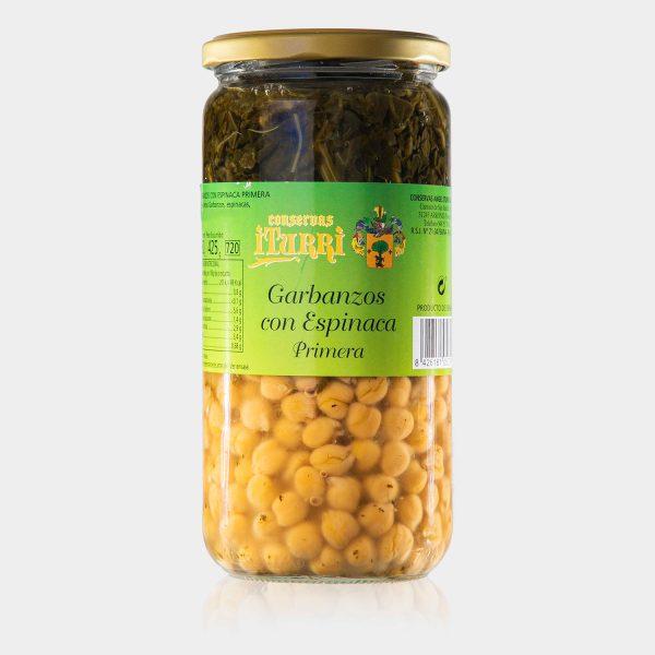 garbanzos, garbanzos con espinaca, espinaca, primera, natural, tarro, conservas iturri, conservas, arroniz, iturri, verduras