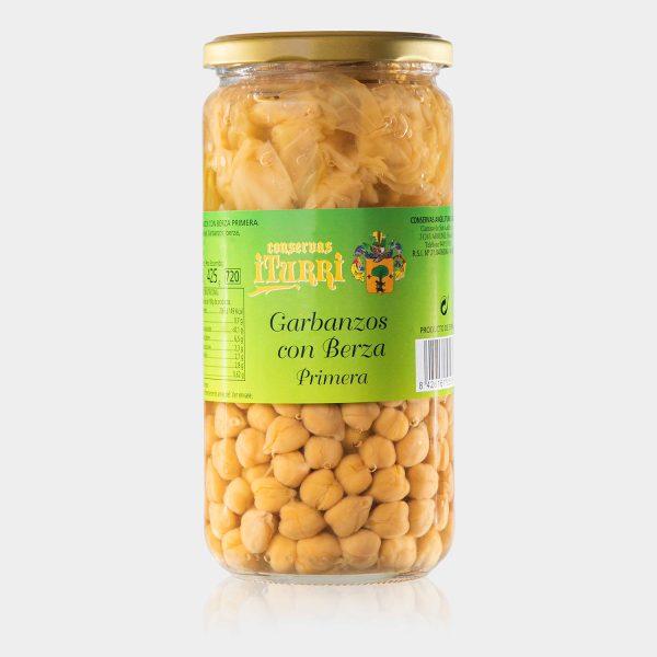 garbanzos, garbanzos con berza, berza, primera, natural, tarro, conservas iturri, conservas, arroniz, iturri, verduras